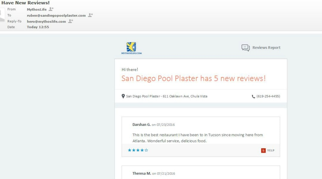 Local SEO Reviews on Dashboard